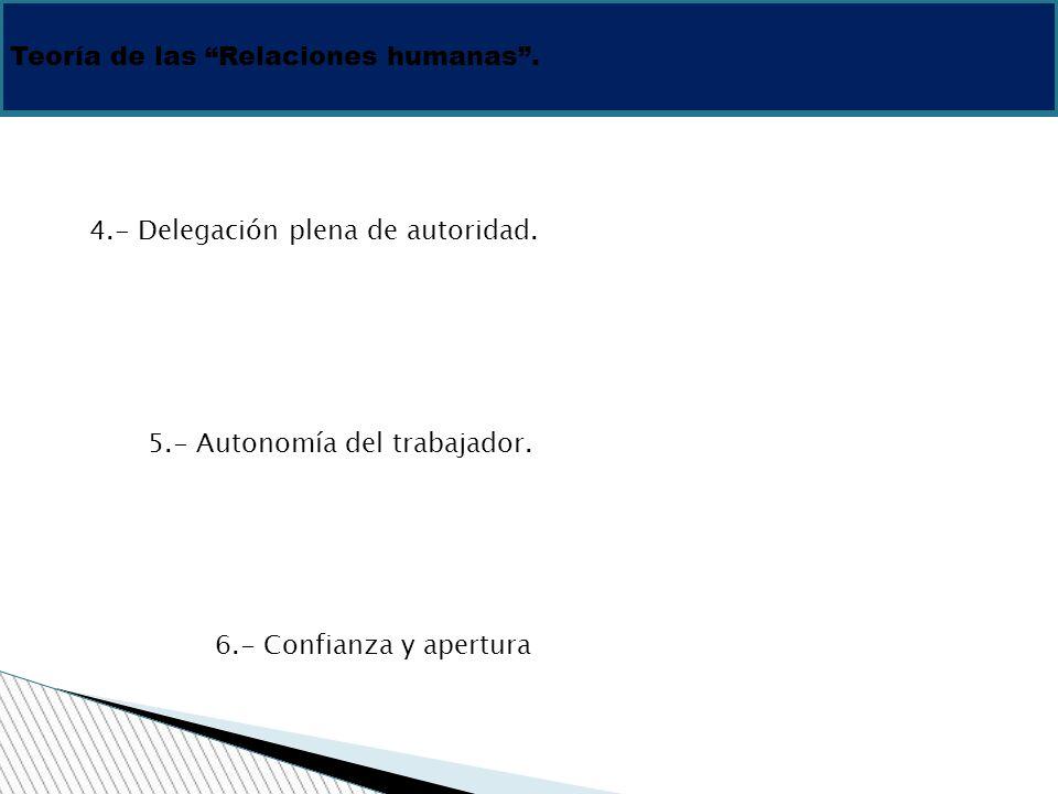 Teoría de las Relaciones humanas. 4.- Delegación plena de autoridad. 5.- Autonomía del trabajador. 6.- Confianza y apertura