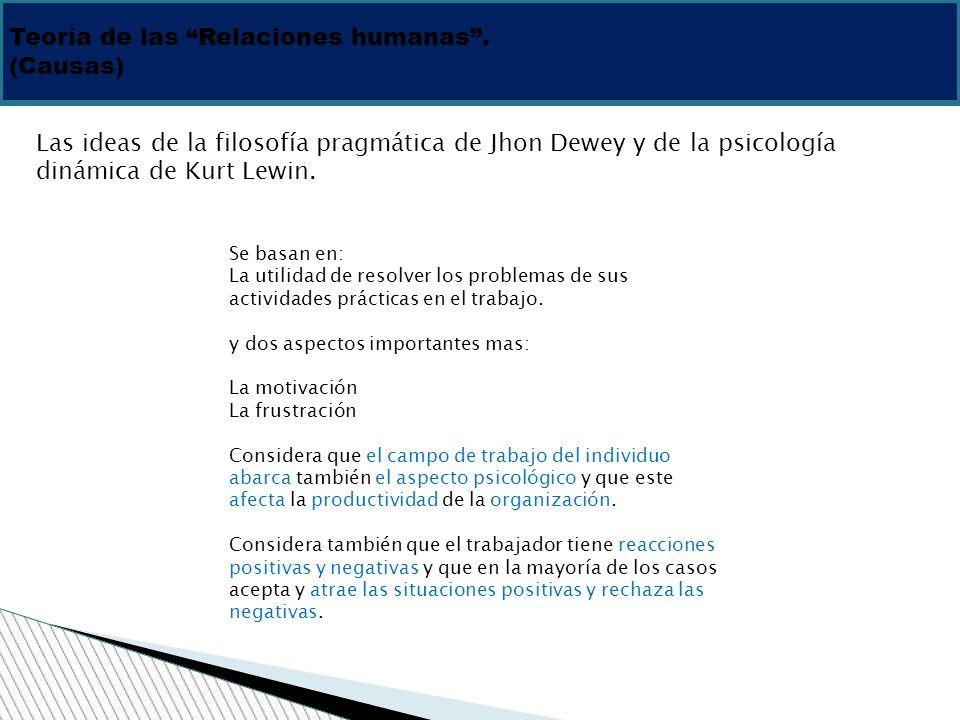 Teoría de las Relaciones humanas. (Causas) Las ideas de la filosofía pragmática de Jhon Dewey y de la psicología dinámica de Kurt Lewin. Se basan en: