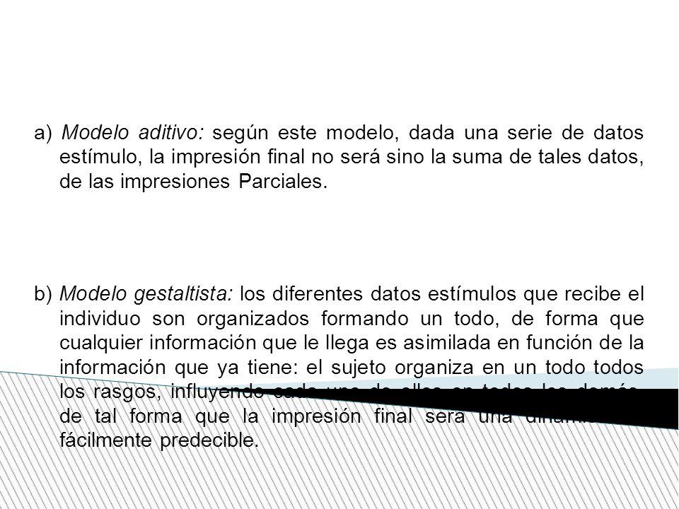 a) Modelo aditivo: según este modelo, dada una serie de datos estímulo, la impresión final no será sino la suma de tales datos, de las impresiones Par