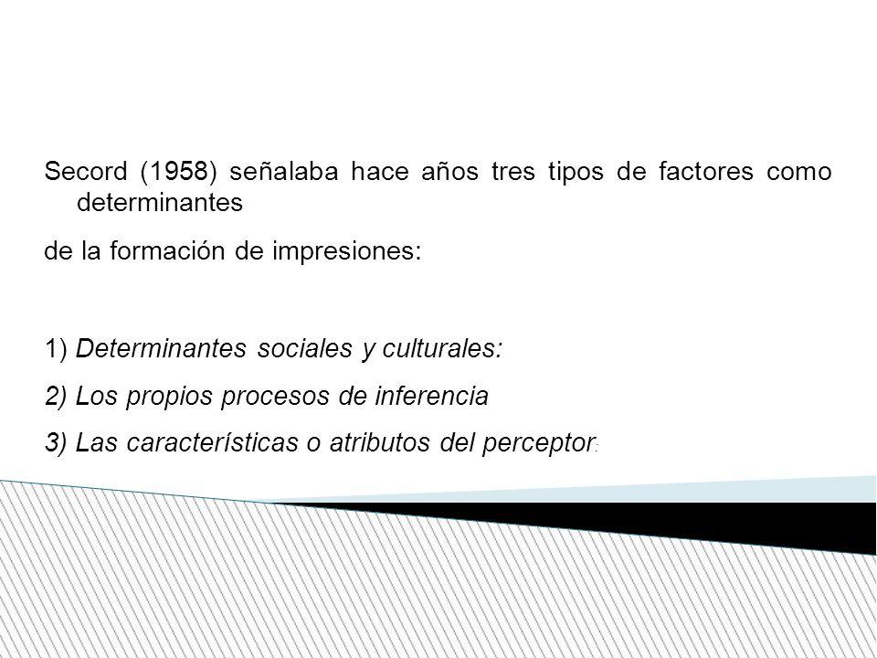 Secord (1958) señalaba hace años tres tipos de factores como determinantes de la formación de impresiones: 1) Determinantes sociales y culturales: 2)