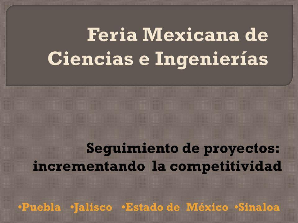 Puebla Jalisco Estado de México Sinaloa Seguimiento de proyectos: incrementando la competitividad