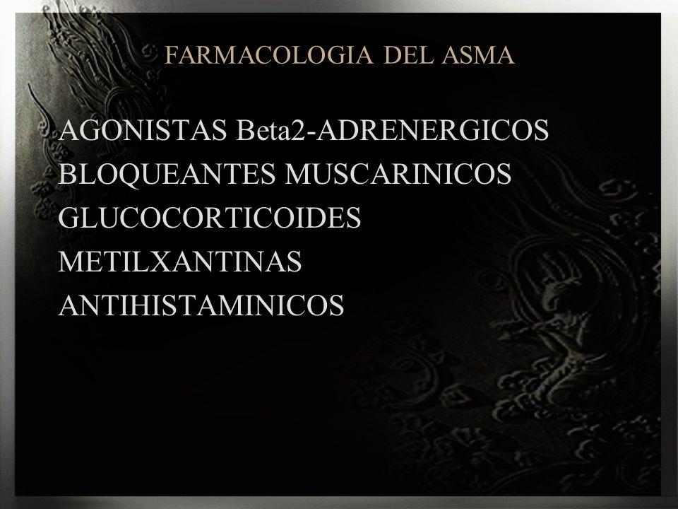 FARMACOLOGIA DEL ASMA AGONISTAS Beta2-ADRENERGICOS BLOQUEANTES MUSCARINICOS GLUCOCORTICOIDES METILXANTINAS ANTIHISTAMINICOS