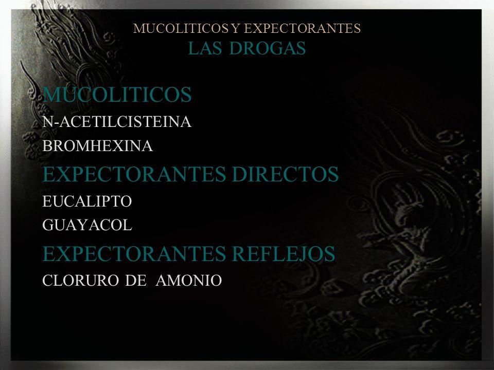 MUCOLITICOS Y EXPECTORANTES LAS DROGAS MUCOLITICOS N-ACETILCISTEINA BROMHEXINA EXPECTORANTES DIRECTOS EUCALIPTO GUAYACOL EXPECTORANTES REFLEJOS CLORUR