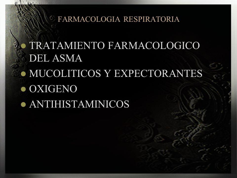 FARMACOLOGIA RESPIRATORIA TRATAMIENTO FARMACOLOGICO DEL ASMA MUCOLITICOS Y EXPECTORANTES OXIGENO ANTIHISTAMINICOS