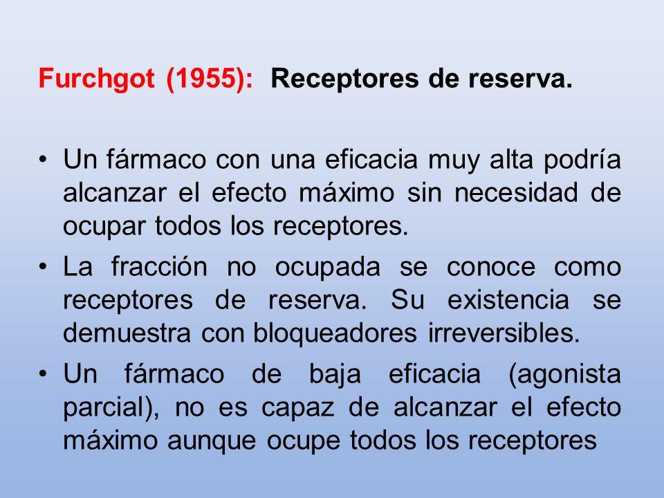 Furchgot (1955): Receptores de reserva. Un fármaco con una eficacia muy alta podría alcanzar el efecto máximo sin necesidad de ocupar todos los recept
