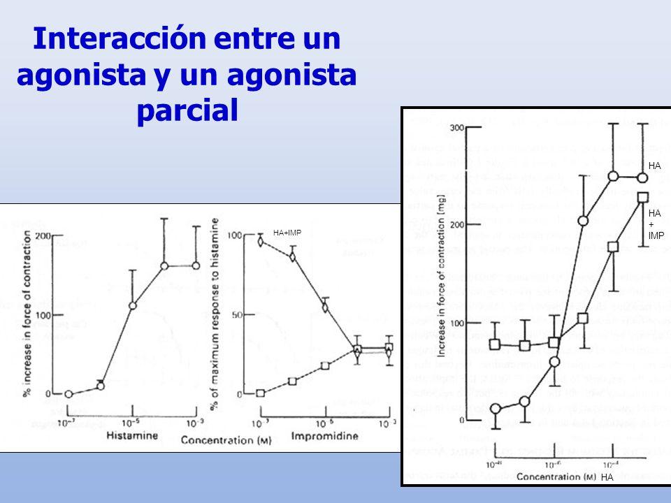 Interacción entre un agonista y un agonista parcial HA + IMP HA+IMP