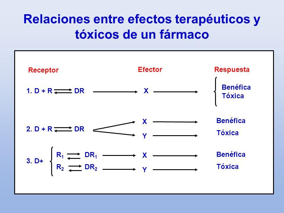 Relaciones entre efectos terapéuticos y tóxicos de un fármaco Receptor EfectorRespuesta 1. D + R DR X Benéfica Tóxica 2. D + R DR Benéfica Tóxica X Y