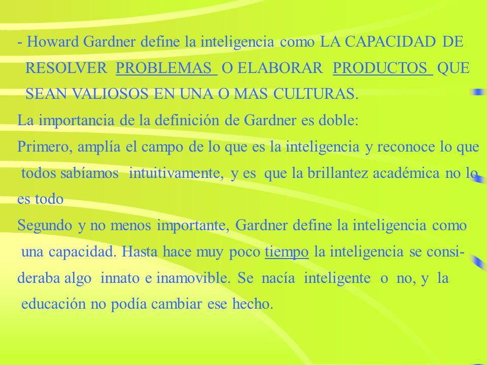 - Howard Gardner define la inteligencia como LA CAPACIDAD DE RESOLVER PROBLEMAS O ELABORAR PRODUCTOS QUEPROBLEMAS PRODUCTOS SEAN VALIOSOS EN UNA O MAS CULTURAS.