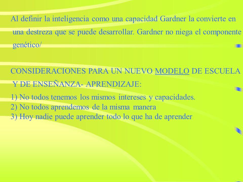 - Howard Gardner define la inteligencia como LA CAPACIDAD DE RESOLVER PROBLEMAS O ELABORAR PRODUCTOS QUEPROBLEMAS PRODUCTOS SEAN VALIOSOS EN UNA O MAS
