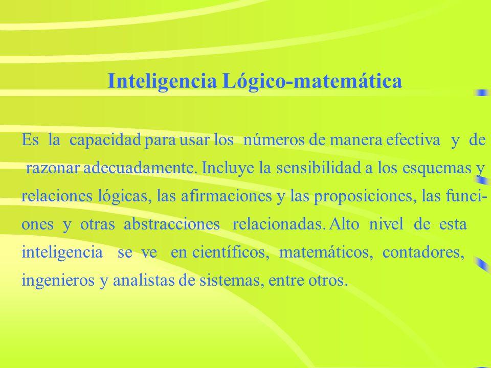 Inteligencia Lógico-matemática Es la capacidad para usar los números de manera efectiva y de razonar adecuadamente.