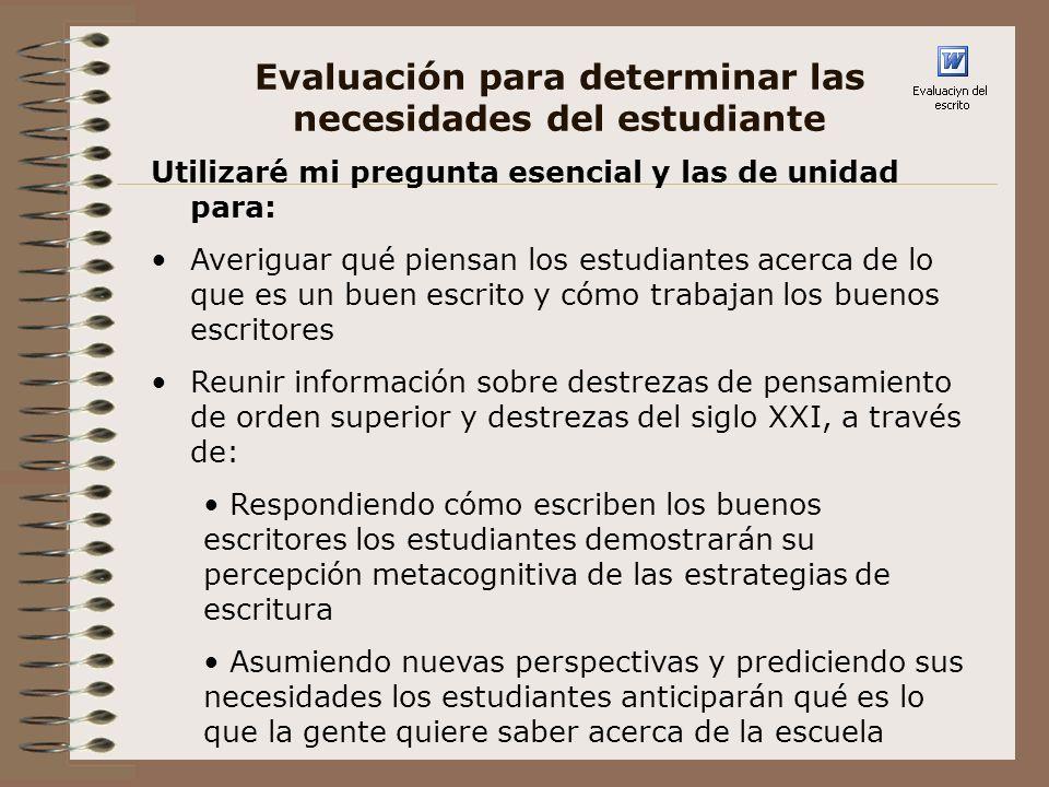 Evaluación para determinar las necesidades del estudiante ¿ Qué aprenderé de la evaluación.