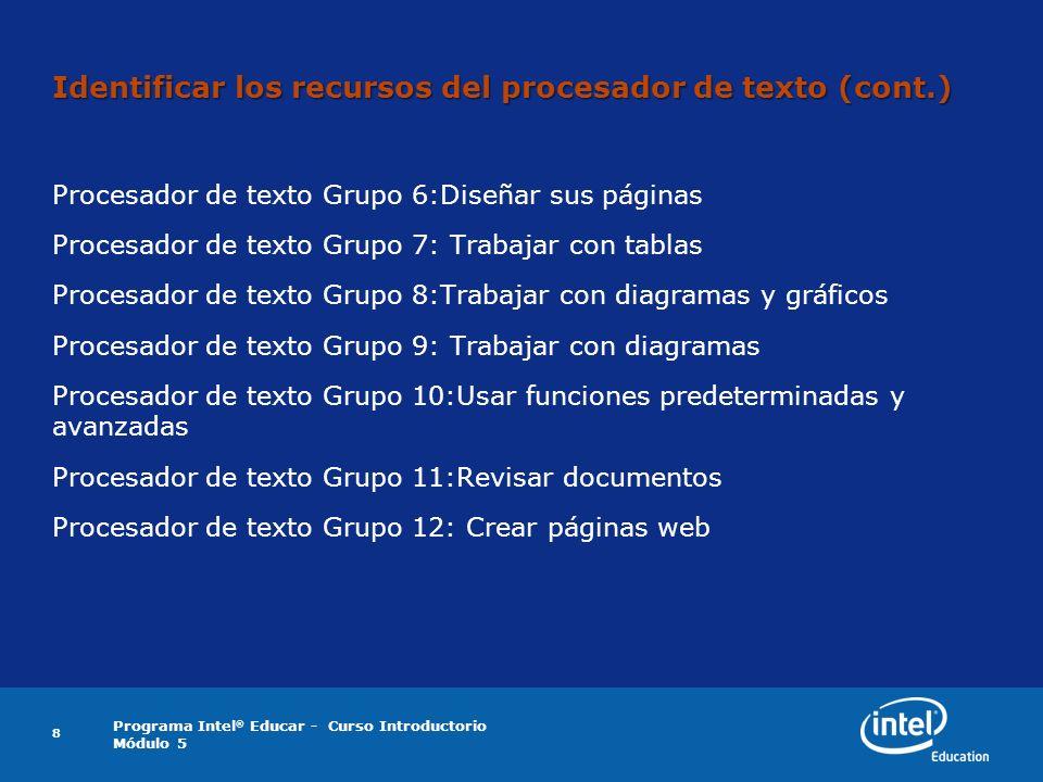 Programa Intel ® Educar - Curso Introductorio Módulo 5 Identificar los recursos del procesador de texto (cont.) Procesador de texto Grupo 6:Diseñar su