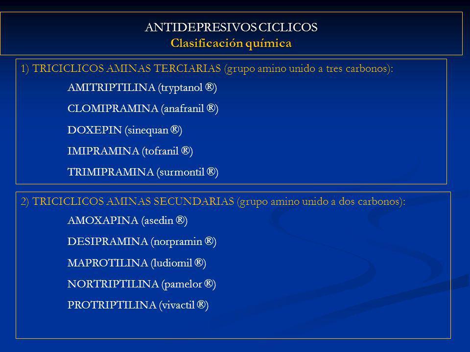 ANTIDEPRESIVOS CICLICOS Clasificación química 1) TRICICLICOS AMINAS TERCIARIAS (grupo amino unido a tres carbonos): AMITRIPTILINA (tryptanol ®) CLOMIPRAMINA (anafranil ®) DOXEPIN (sinequan ®) IMIPRAMINA (tofranil ®) TRIMIPRAMINA (surmontil ®) 2) TRICICLICOS AMINAS SECUNDARIAS (grupo amino unido a dos carbonos): AMOXAPINA (asedin ®) DESIPRAMINA (norpramin ®) MAPROTILINA (ludiomil ®) NORTRIPTILINA (pamelor ®) PROTRIPTILINA (vivactil ®)
