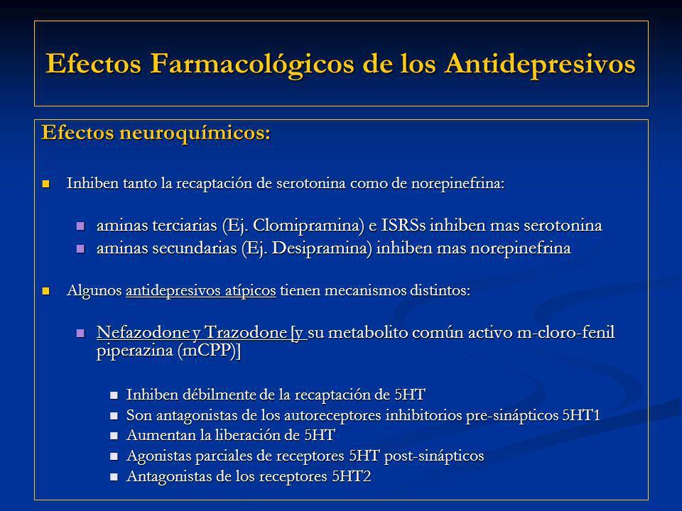 Efectos Farmacológicos de los Antidepresivos Efectos neuroquímicos: Inhiben tanto la recaptación de serotonina como de norepinefrina: Inhiben tanto la