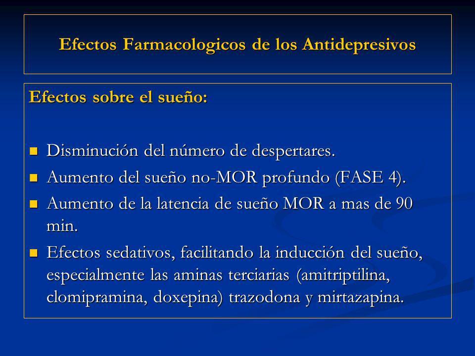Efectos Farmacologicos de los Antidepresivos Efectos sobre el sueño: Disminución del número de despertares. Disminución del número de despertares. Aum