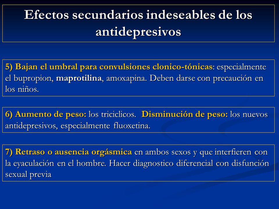 Efectos secundarios indeseables de los antidepresivos 5) Bajan el umbral para convulsiones clonico-tónicas: especialmente el bupropion, maprotilina, amoxapina.