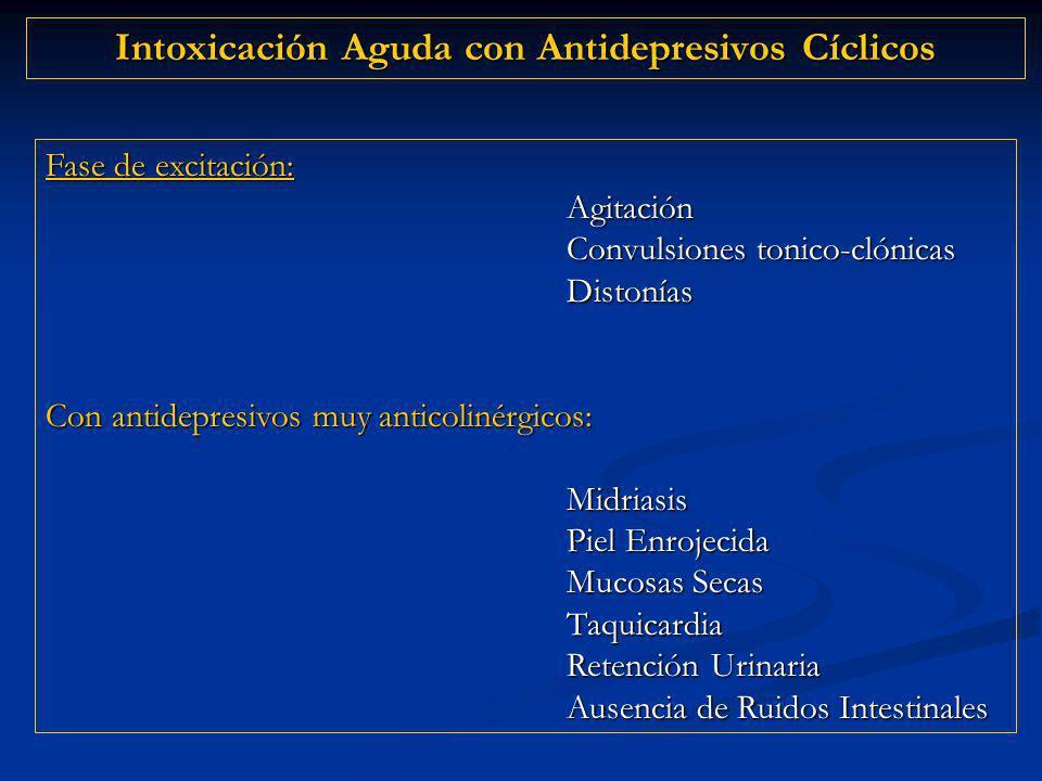 Intoxicación Aguda con Antidepresivos Cíclicos Fase de excitación: Agitación Convulsiones tonico-clónicas Distonías Con antidepresivos muy anticolinérgicos: Midriasis Piel Enrojecida Mucosas Secas Taquicardia Retención Urinaria Ausencia de Ruidos Intestinales