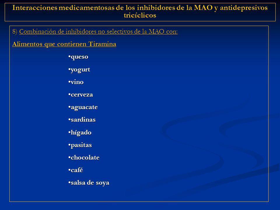 8) Combinación de inhibidores no selectivos de la MAO con: Alimentos que contienen Tiramina quesoqueso yogurtyogurt vinovino cervezacerveza aguacateag