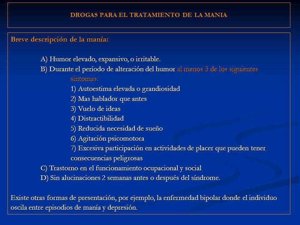 DROGAS PARA EL TRATAMIENTO DE LA MANIA Breve descripción de la manía: A) Humor elevado, expansivo, o irritable. B) Durante el período de alteración de