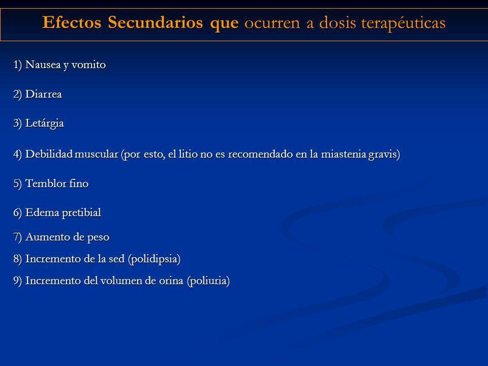 Efectos Secundarios que ocurren a dosis terapéuticas 4) Debilidad muscular (por esto, el litio no es recomendado en la miastenia gravis) 5) Temblor fi