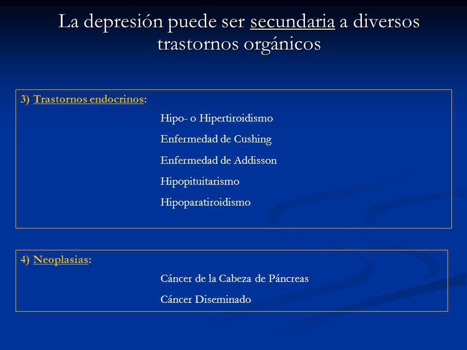 La depresión puede ser secundaria a diversos trastornos orgánicos 3) Trastornos endocrinos: Hipo- o Hipertiroidismo Enfermedad de Cushing Enfermedad de Addisson Hipopituitarismo Hipoparatiroidismo 4) Neoplasias: Cáncer de la Cabeza de Páncreas Cáncer Diseminado