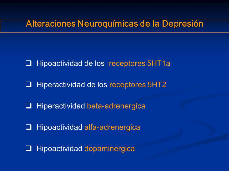 Alteraciones Neuroquímicas de la Depresión Hiperactividad beta-adrenergica Hipoactividad de los receptores 5HT1a Hipoactividad dopaminergica Hipoactiv