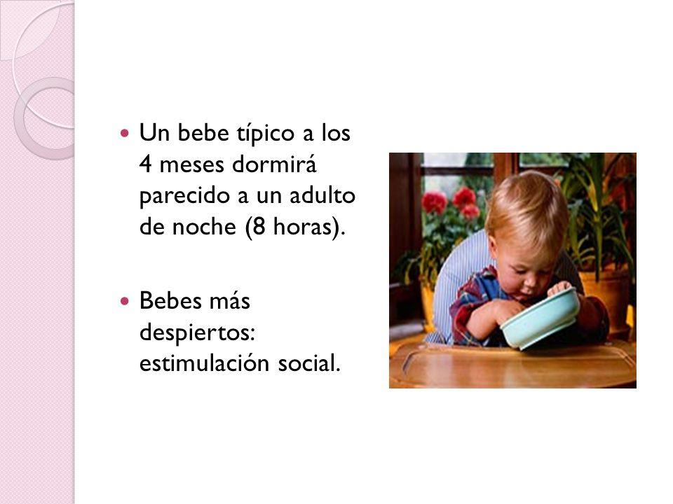 Un bebe típico a los 4 meses dormirá parecido a un adulto de noche (8 horas). Bebes más despiertos: estimulación social.