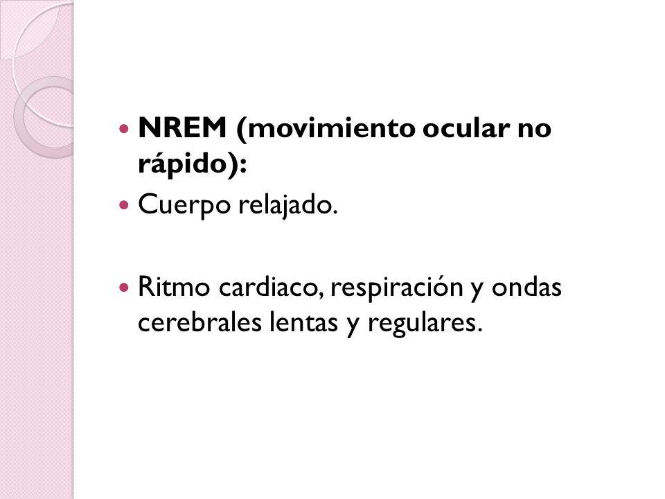 NREM (movimiento ocular no rápido): Cuerpo relajado. Ritmo cardiaco, respiración y ondas cerebrales lentas y regulares.