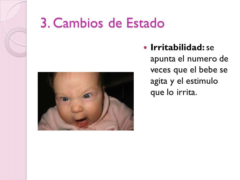 3. Cambios de Estado Irritabilidad: se apunta el numero de veces que el bebe se agita y el estimulo que lo irrita.