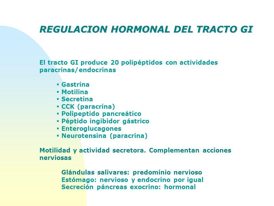 REGULACION HORMONAL DEL TRACTO GI El tracto GI produce 20 polipéptidos con actividades paracrinas/endocrinas Gastrina Motilina Secretina CCK (paracrin