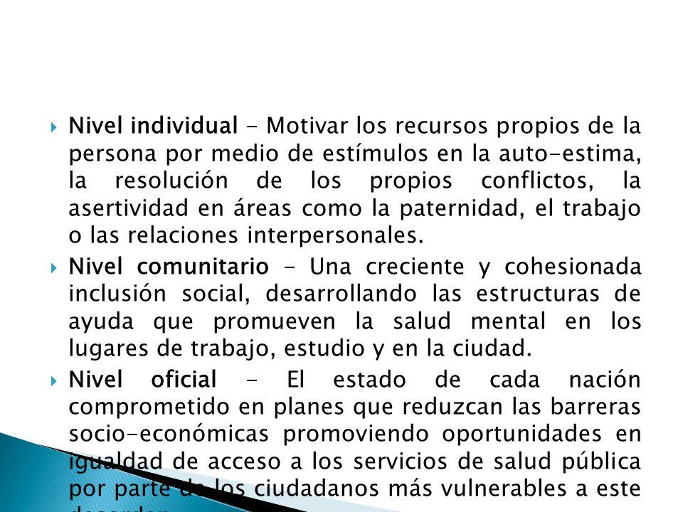 Nivel individual - Motivar los recursos propios de la persona por medio de estímulos en la auto-estima, la resolución de los propios conflictos, la as