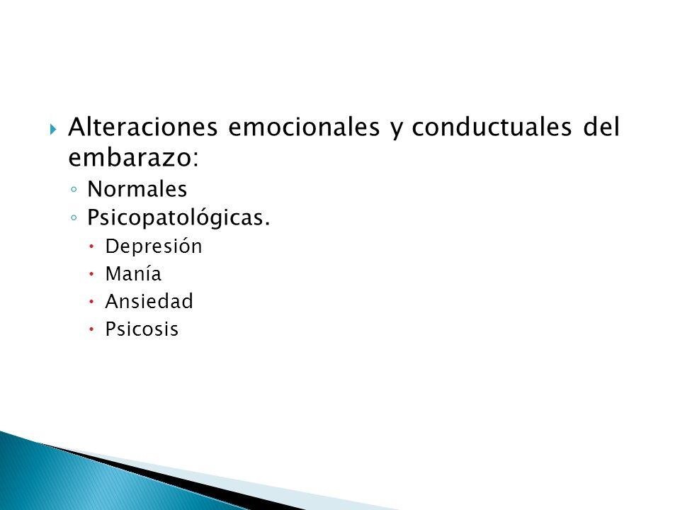 Alteraciones emocionales y conductuales del embarazo: Normales Psicopatológicas. Depresión Manía Ansiedad Psicosis