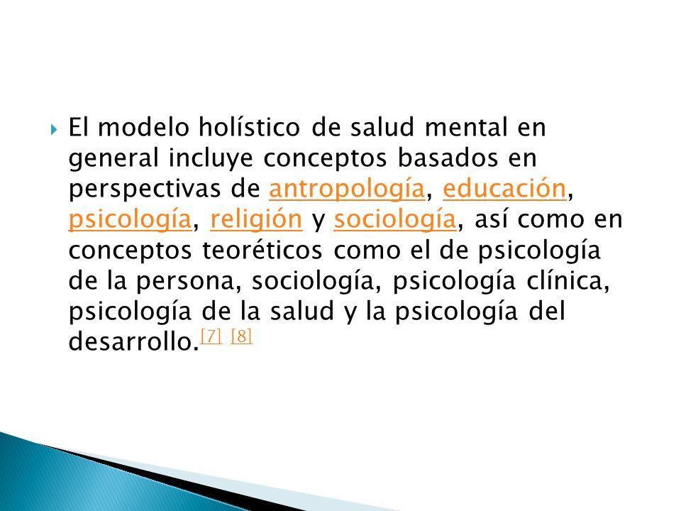 El modelo holístico de salud mental en general incluye conceptos basados en perspectivas de antropología, educación, psicología, religión y sociología