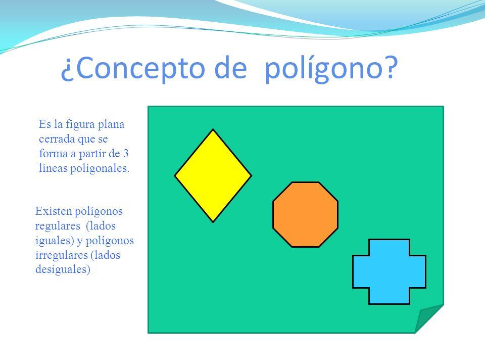 ¿Concepto de polígono? Es la figura plana cerrada que se forma a partir de 3 líneas poligonales. Existen polígonos regulares (lados iguales) y polígon