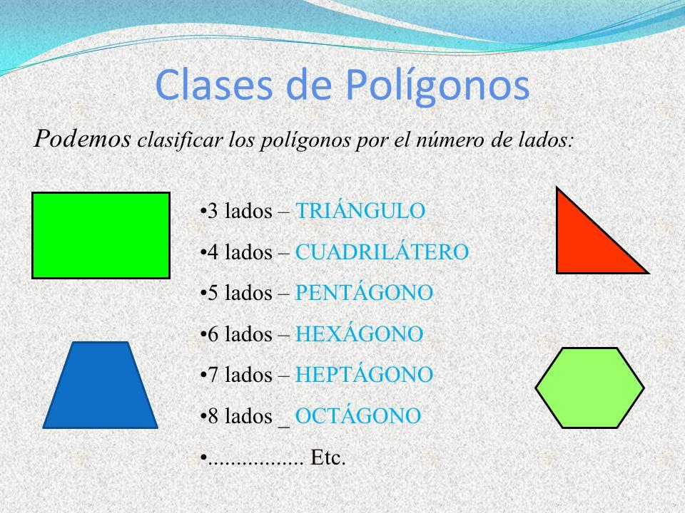 Clases de Polígonos Podemos clasificar los polígonos por el número de lados: 3 lados – TRIÁNGULO 4 lados – CUADRILÁTERO 5 lados – PENTÁGONO 6 lados –