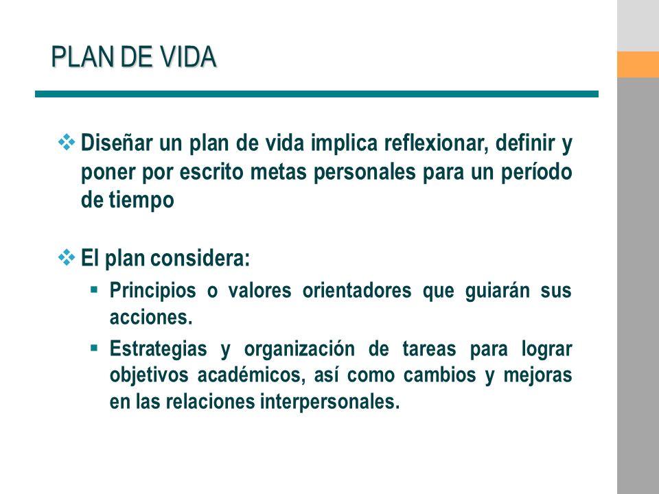 PLAN DE VIDA Diseñar un plan de vida implica reflexionar, definir y poner por escrito metas personales para un período de tiempo El plan considera: Pr