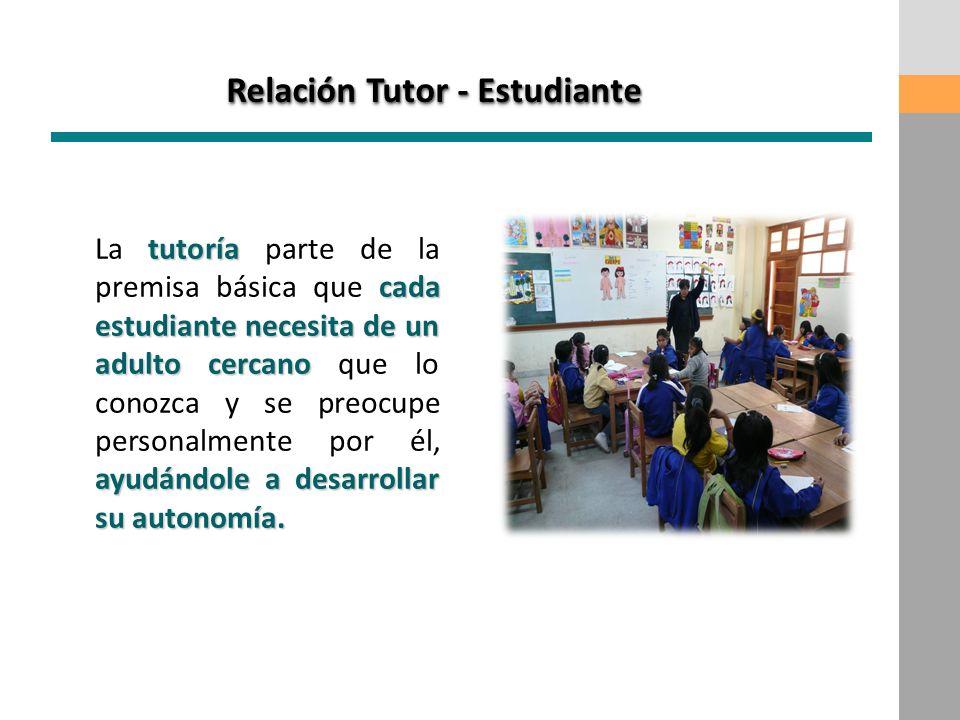 Relación Tutor - Estudiante tutoría cada estudiante necesita de un adulto cercano ayudándole a desarrollar su autonomía. La tutoría parte de la premis