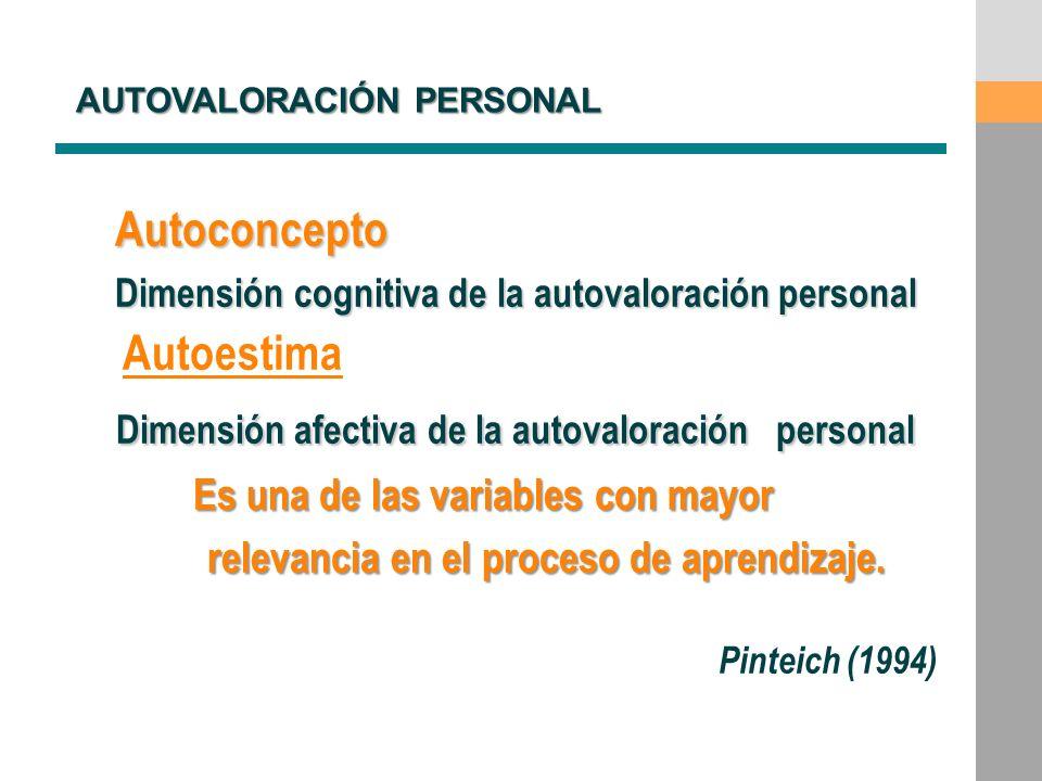 Autoconcepto Dimensión cognitiva de la autovaloración personal Autoestima Dimensión afectiva de la autovaloración personal Dimensión afectiva de la au