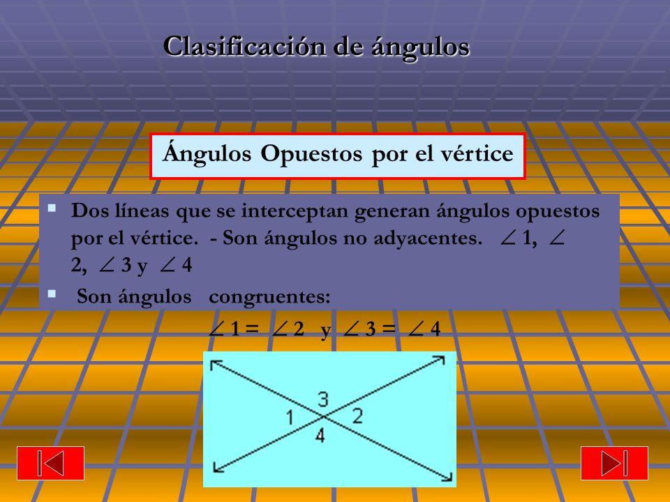 Ángulos Opuestos por el vértice Clasificación de ángulos Dos líneas que se interceptan generan ángulos opuestos por el vértice. - Son ángulos no adyac