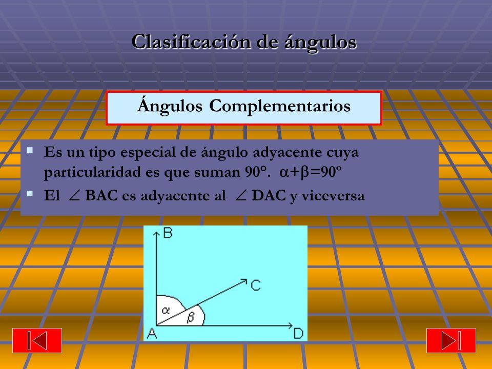 Ángulos Complementarios Clasificación de ángulos Es un tipo especial de ángulo adyacente cuya particularidad es que suman 90°. + =90º El BAC es adyace
