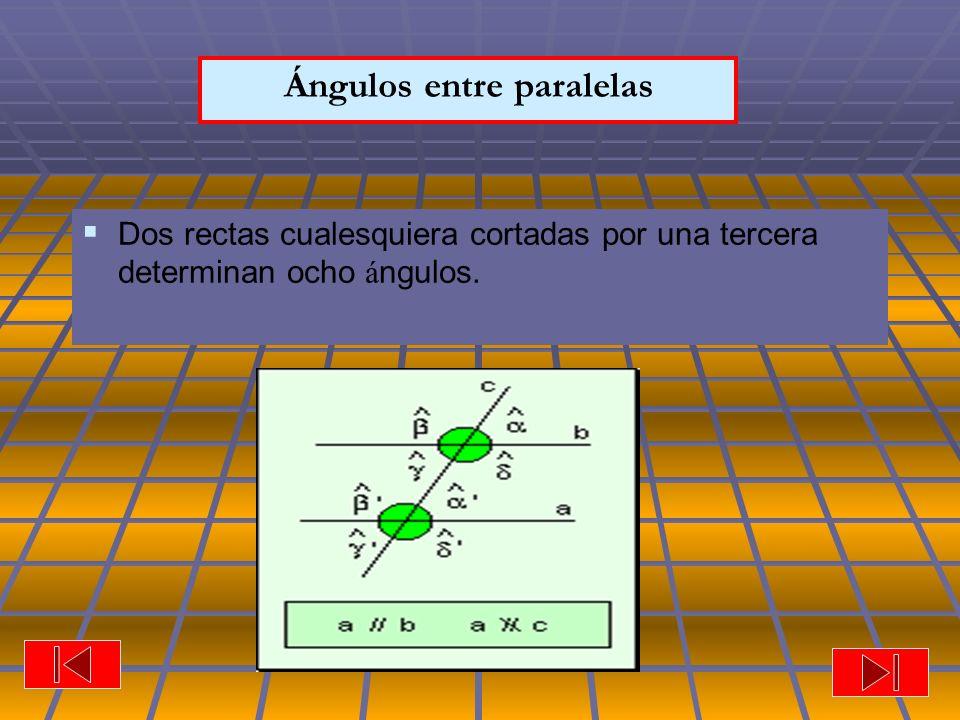Ángulos entre paralelas Dos rectas cualesquiera cortadas por una tercera determinan ocho á ngulos.