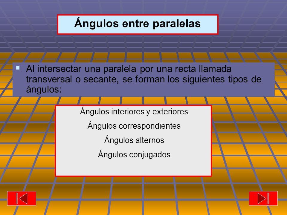 Ángulos Ángulos entre paralelas Al intersectar una paralela por una recta llamada transversal o secante, se forman los siguientes tipos de ángulos: Ángulos interiores y exteriores Ángulos correspondientes Ángulos alternos Ángulos conjugados