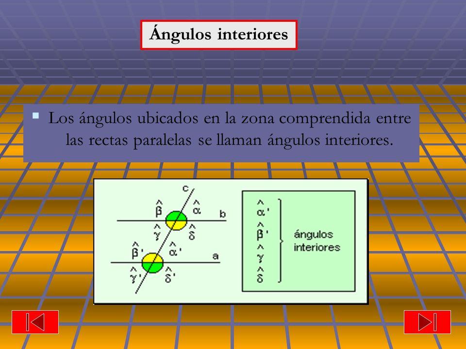 Ángulos Los ángulos ubicados en la zona comprendida entre las rectas paralelas se llaman ángulos interiores. Ángulos interiores