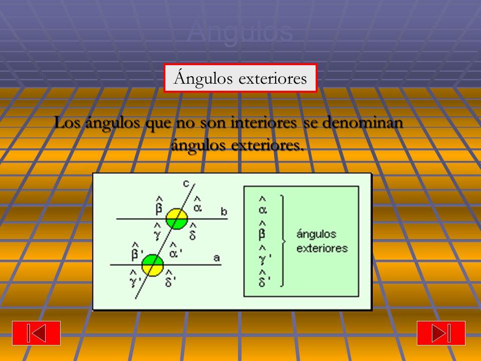 Ángulos Los ángulos que no son interiores se denominan ángulos exteriores. Ángulos exteriores