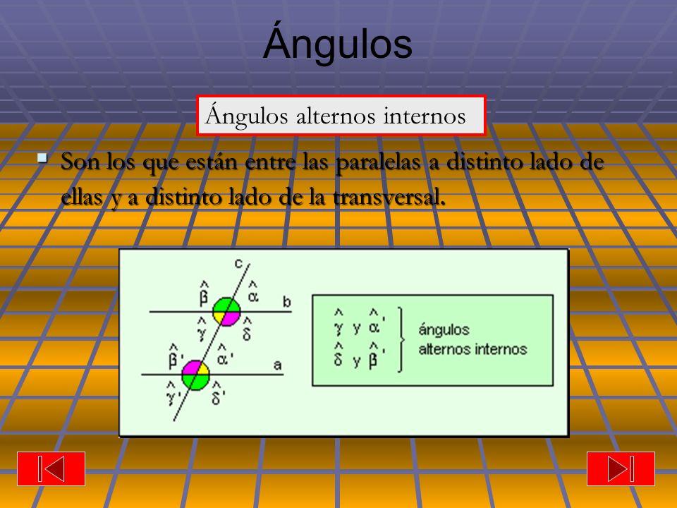 Ángulos Son los que están entre las paralelas a distinto lado de ellas y a distinto lado de la transversal.