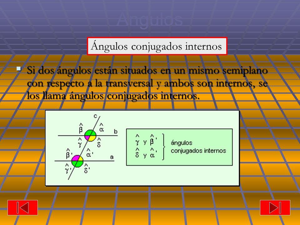 Ángulos Si dos ángulos están situados en un mismo semiplano con respecto a la transversal y ambos son internos, se los llama ángulos conjugados internos.