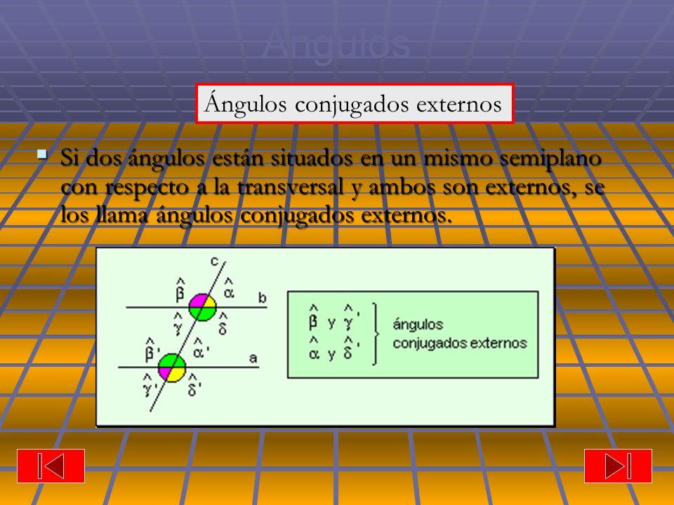 Ángulos Si dos ángulos están situados en un mismo semiplano con respecto a la transversal y ambos son externos, se los llama ángulos conjugados externos.