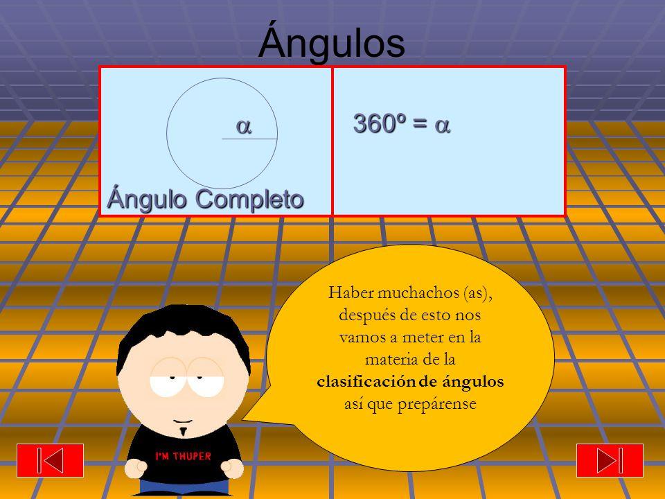 Ángulos Ángulo Completo 360º = 360º = Haber muchachos (as), después de esto nos vamos a meter en la materia de la clasificación de ángulos así que prepárense