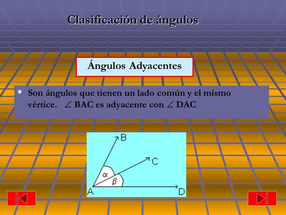 Ángulos Adyacentes Clasificación de ángulos Son ángulos que tienen un lado común y el mismo vértice. BAC es adyacente con DAC