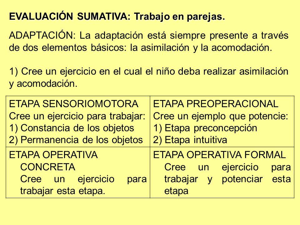 EVALUACIÓN SUMATIVA: Trabajo en parejas. ETAPA SENSORIOMOTORA Cree un ejercicio para trabajar: 1) Constancia de los objetos 2) Permanencia de los obje